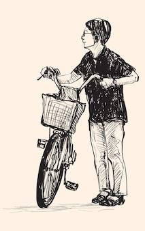 Szkic kobiety jadącej na rowerze