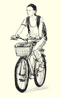 Szkic kobiety jeżdżącej na rowerze, ilustracja rysunek odręczny
