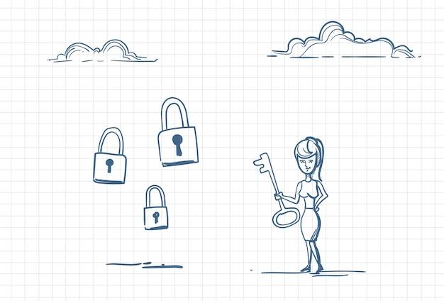 Szkic kobiety z kluczem do zamków