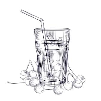 Szkic koktajl owoców wiśni. obraz soku z owoców wiśni. styl grawerowania. ręcznie rysowane wektor ilustracja na białym tle.