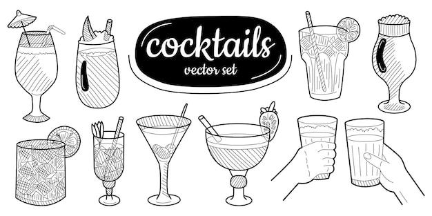 Szkic koktajle, zestaw napojów alkoholowych. ręcznie rysowane ilustracji wektorowych. ilustracja wektorowa.