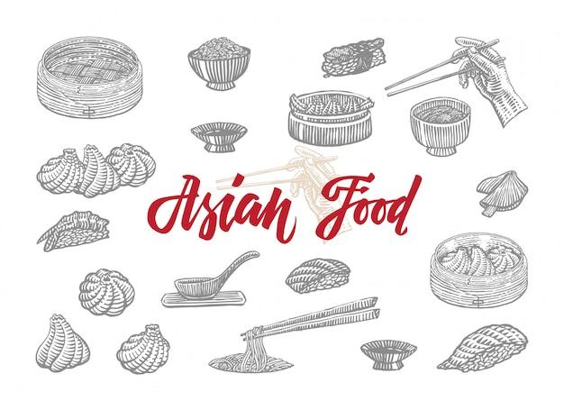 Szkic kolekcja azjatyckich potraw