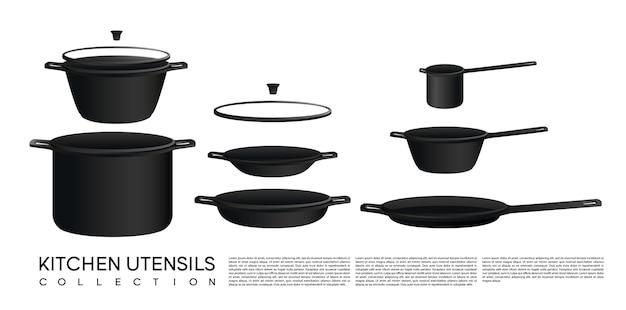 Szkic kolekcja naczynia kuchenne