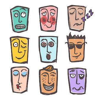 Szkic kolorowy zestaw emotikonów