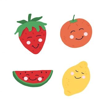 Szkic kolorowy zestaw owoców