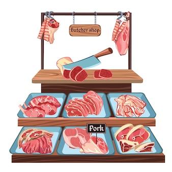 Szkic koncepcja sklepu mięsnego