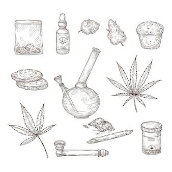 Szkic konopi. liście marihuany leczniczej, bong i bong chwastów, olej cbd. ręcznie rysowane wektor zestaw ganja. ilustracja szkic chwastów konopi, naturalne konopie organiczne