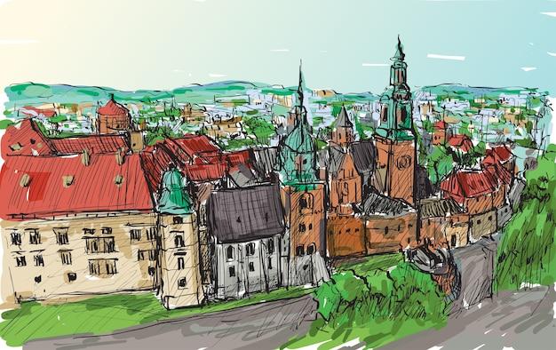 Szkic krajobraz miasta polska wieże zamku w krakowie, ilustracja rysować odręcznie