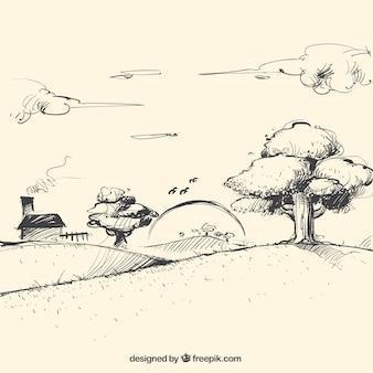 Szkic krajobraz o zmierzchu