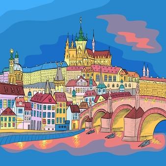 Szkic krajobrazu pragi z zamkiem na hradczanach i mostem karola