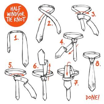 Szkic krawata węzłów