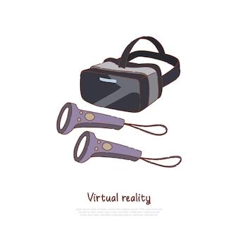 Szkic kreskówka koncepcja zestawu słuchawkowego wirtualnej rzeczywistości