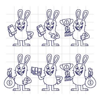 Szkic królik trzymając telefon komórkowy kubek pieniądze zestaw znaków. ilustracja wektorowa. postać maskotki.