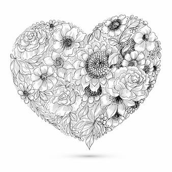 Szkic kwiatowy eleganckie serce