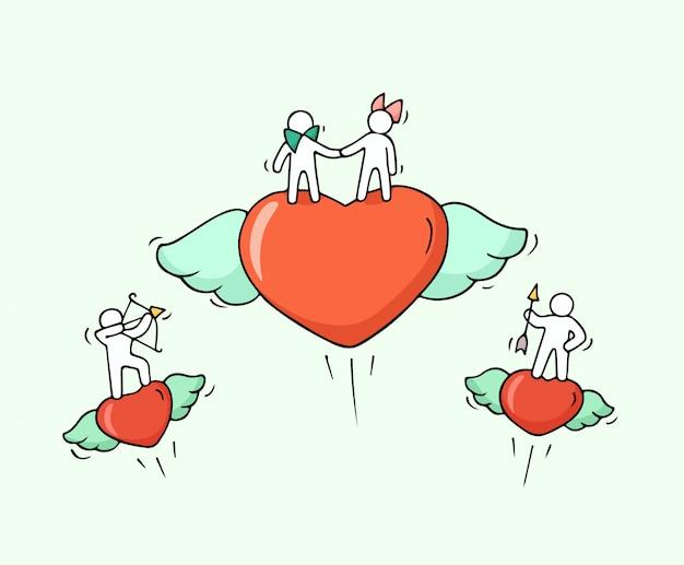 Szkic latających serc z uroczymi małymi ludźmi