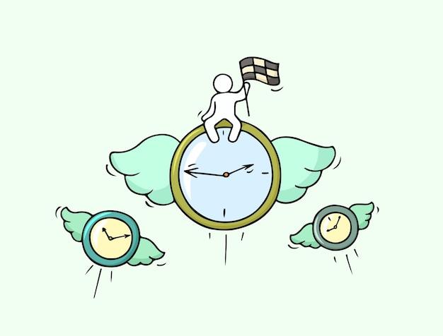 Szkic latających zegarów z małym pracownikiem. ręcznie rysowane kreskówki