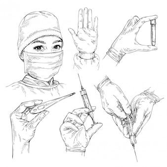 Szkic lekarz noszenie maski medyczne i czapkę. ochrona przed koronawirusem covid-19. ręka trzyma strzykawkę, probówkę i termometr elektroniczny. ręcznie rysowane portret młodej kobiety lekarz.