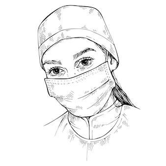 Szkic lekarz noszenie maski medyczne i czapkę. ręcznie rysowane portret młodej kobiety lekarz.