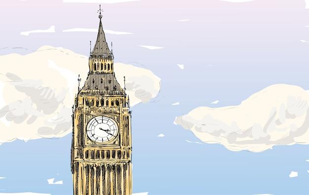 Szkic londynu, anglia, pokaż big be z chmurami, ilustracja