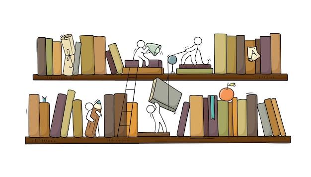 Szkic ludzi pracy zespołowej księgarnia doodle scena kreskówki z półkami na książki