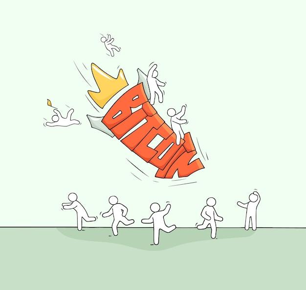 Szkic małych ludzi i spadające słowo bitcoin. doodle miniaturowa scena o kryptowalutach. ręcznie rysowane ilustracja kreskówka wektor.