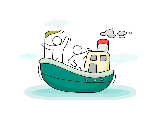 Szkic małych ludzi pływają łodzią.