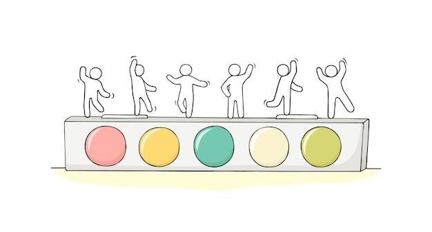Szkic małych ludzi stojących na farbach akwarelowych. wyciągnąć rękę
