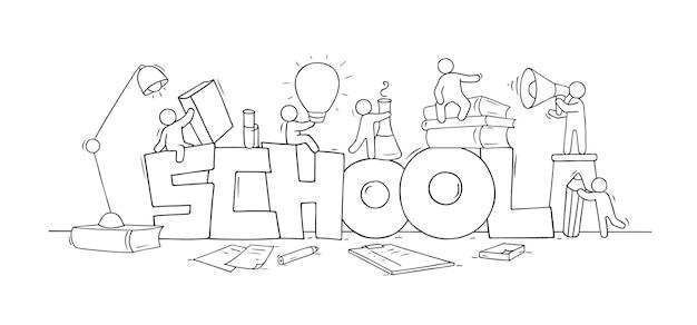 Szkic małych ludzi ze słowem szkoła. doodle śliczna miniaturowa scena o edukacji. ręcznie rysowane ilustracja kreskówka wektor.