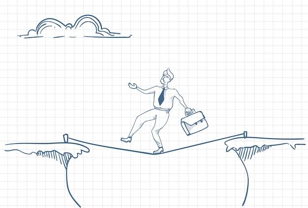 Szkic mężczyzny balansującego na linie