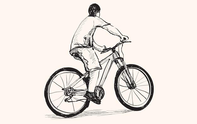 Szkic mężczyzny i roweru, rysunek odręczny i ilustracja