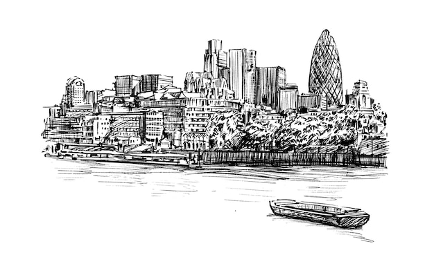 Szkic miasta londynu wzdłuż rzeki rysować ręka