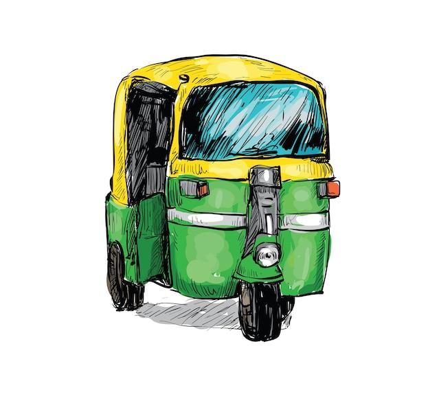 Szkic miasta transportowego w indiach pokazuje na białym tle lokalną taksówkę riksza