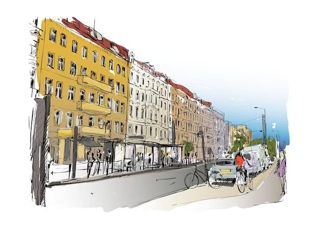 Szkic miasta w berlinie pokazuje stary budynek wzdłuż drogi i ludzie jeżdżą na rowerze, ilustracja
