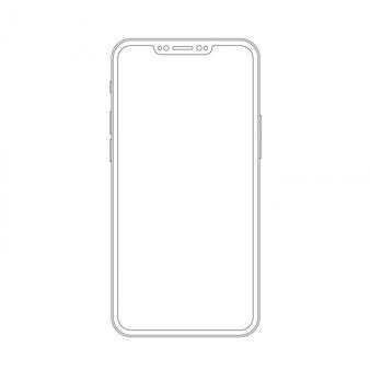 Szkic modny smartfon. elegancki telefon komórkowy w stylu cienkiej linii