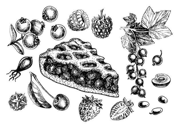 Szkic na białym tle kawałek ciasta jagodowego. ręcznie rysowane ilustracja piec do domu na białym tle. różne rodzaje jagód na ciasto. szkic truskawek, malin, porzeczek, wiśni, jagód