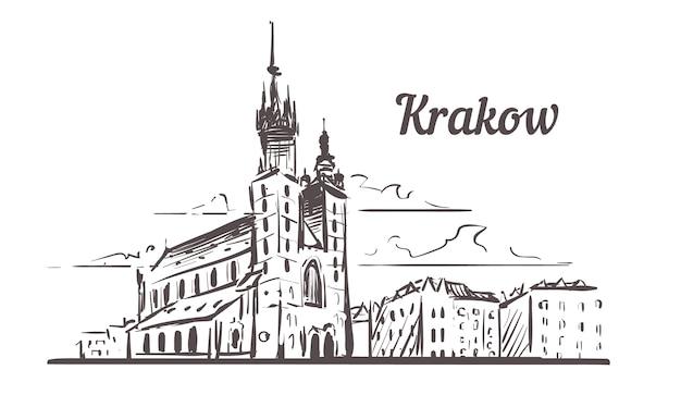 Szkic panoramę krakowa, polska