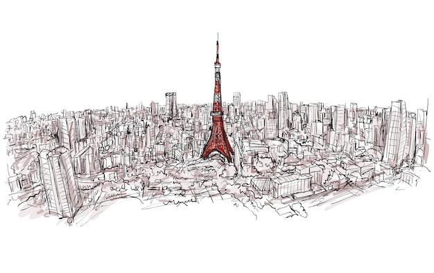 Szkic panoramy miasta tokyo tower