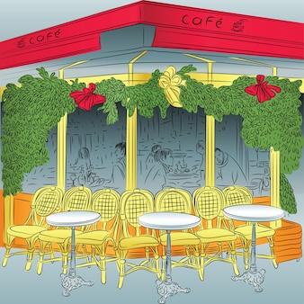 Szkic paryskiej kawiarni z dekoracjami świątecznymi