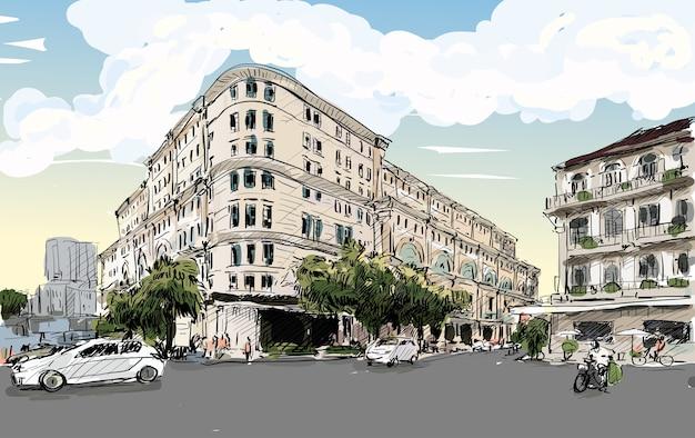 Szkic pejzaż miasta sajgon (ho chi minh) pokazuje union square i hotel continental - nowoczesny i klasyczny budynek, ilustracja