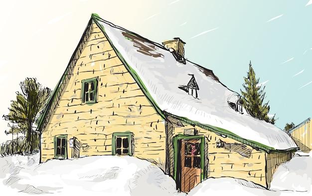 Szkic pejzaż quebec w kanadzie pokazuje widok śniegu i domów, rysunek odręczny