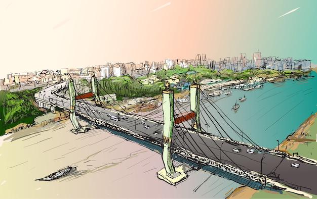 Szkic pejzaż yangon, myanmar pokazuje widok z góry maha bandual bridge, ilustracja rysować odręcznie