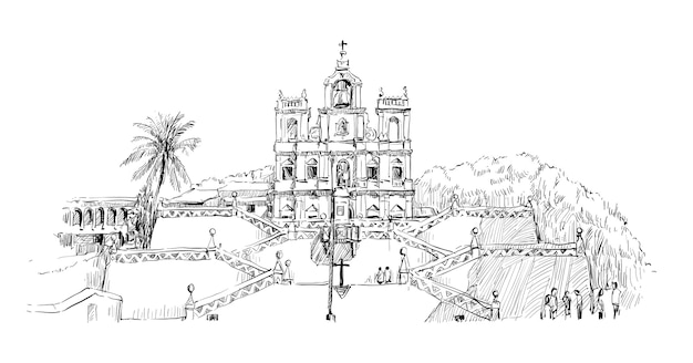 Szkic pejzażu w indiach pokazuje kościół niepokalanego poczęcia nmp w panaji goa