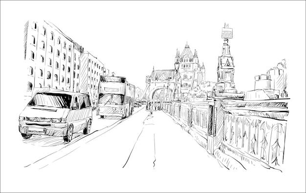 Szkic pejzażu w londynie przedstawia chodnik i transport wokół tower bridge, ilustracja