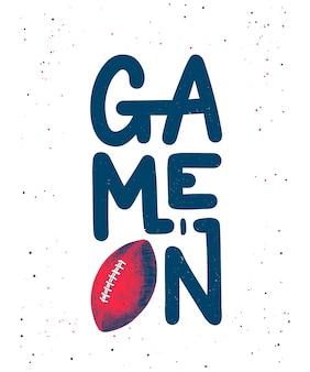 Szkic piłka do futbolu amerykańskiego, napis