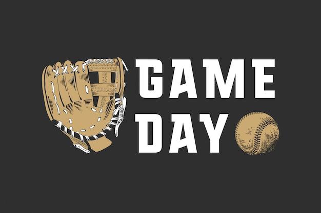 Szkic piłki baseballowej i rękawiczki z motywacją