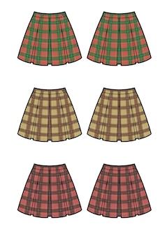 Szkic płaski moda spódnica. spódnica z kompletem w kratkę