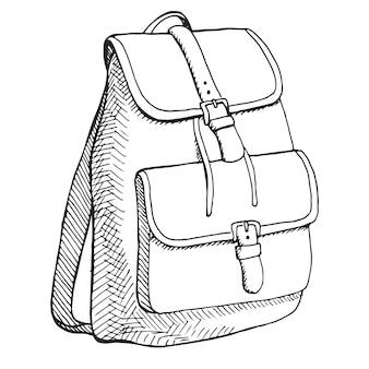 Szkic plecaka. plecak na białym tle.
