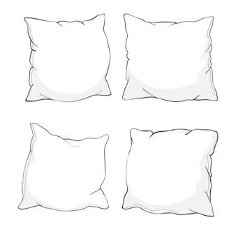 Szkic poduszki, sztuki, poduszki na białym tle