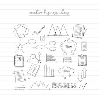 Szkic pomysłu na biznes. ręcznie rysowane doodle.