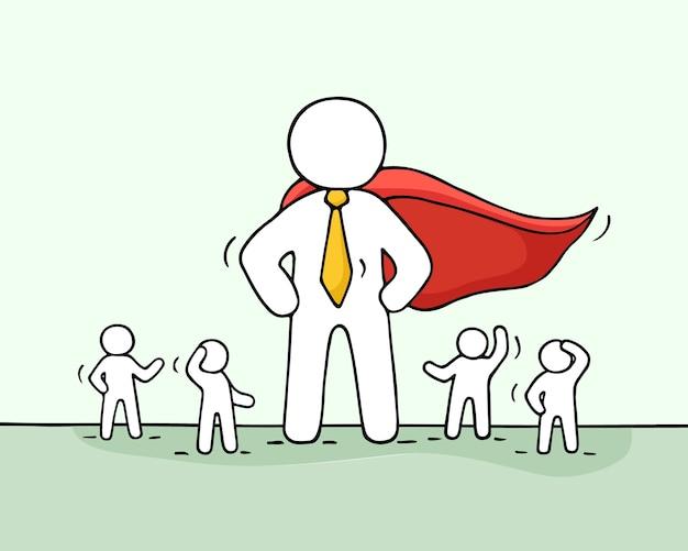 Szkic pracujących małych ludzi i wielkiego superbohatera. doodle ładny koncepcja pracy zespołowej z liderem. ręcznie rysowane kreskówka na biznes.